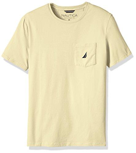Nautica Men's Solid Pocket T-Shirt, French Vanilla, Large -