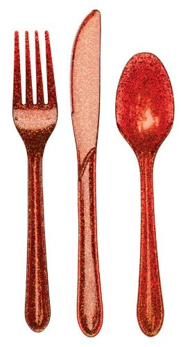 24-Piece Glitz Premium Plastic Cutlery Assortment, Red Glitter