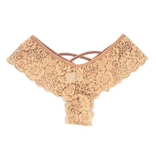 Toimothcn Women's Lace Thongs Bikini Panties Sexy Lingerie Panty G-String Underwear (Brown,XL)]()