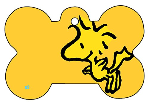 (Snoopy Peanuts Gang Charlie Brown Lucy Collage Art Logo Dog Pet Cat ID Tag Bone Shape Image Photo Personalized with Key Ring (Woodstock))