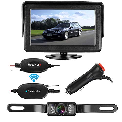 View Truck Auto Part - Emmako Backup Camera Wireless and Monitor Kit 9V-24V Rear View Camera System With 7 LED IR Night Vision Waterproof 4.3 Display Guide Lines For Car/ SUV/Van
