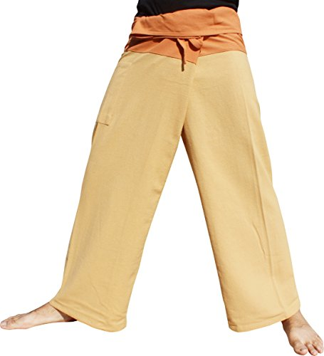 Raan Pah Muang Brand Thick Cotton Two Tone Thailand Fisherman Pants, Medium, Fawn Brown-Wood Brown