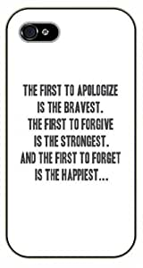 Case Cover For HTC One M8 The first to apologize is the bravest - Black plastic case / Inspirational and motivational life quotes / SURELOCK AUTHENTIC