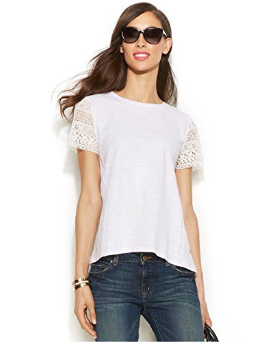 Michael Kors Women's Blouse with sheer lace at sleeves (Medium)