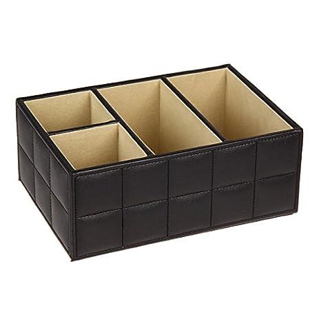 Horrenz–bianco/nero in pelle PU, trucchi e cosmetici contenitore porta telecomando Phone Home Office organizer Storage Case Nero
