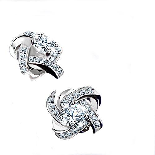Pierced 10k Charm Basketball - Double FNT Windmill-shaped Womens Sterling Silver Diamond Set Stud Earrings