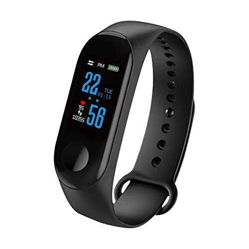 ONEVER M3 IPS Smart Barcelet, IP67 Waterproof TPU Sport Smart Bracelet Support Health Monitoring Heart Rate Blood Pressure Oxygen (Black)