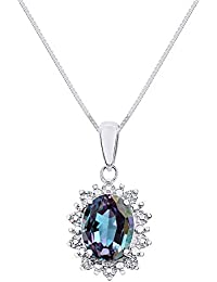 """Diamond & Simulated Alexandrite Pendant Necklace Set in 14K White Gold with 18"""" Chain Princess Diana Inspired Halo"""
