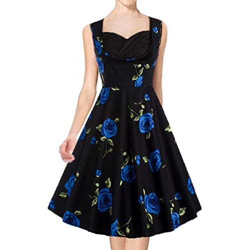 SparklingYXB Womens Retro 1950s Cut Out Rockabilly Vintage Causal Pin Up Floral Swing Prom Party Dress