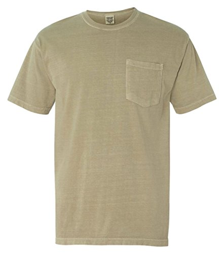 Comfort Colors Chouinard Men's Heavyweight Left Chest Pocket T-Shirt, Sandstone, Medium (Twill Sandstone Shirt)