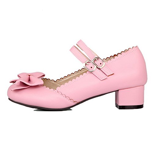 Heels Low WeenFashion Toe Buckle Closed Pink Pu Women's Shoes Pumps Solid tEt61wHq