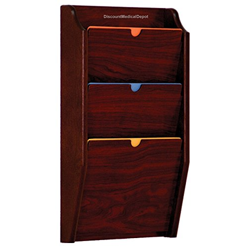 - DMD HIPAA Compliant File Holder, Wall Mounted Patient Chart Rack, 3 Pocket, Privacy, Letter Size, Mahogany