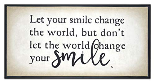 Homekor Your Smile Motivational Quote - Let Your Smile Change The World, But Dont Let The World Change Your Smile - Inspirational Hanging Wall Art Decor - Framed Canvas Print 24 x 12 (Framed Inspirational Art)