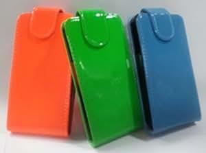 Lote 3 X Funda Carcasa De Piel Sintetica Para Samsung Galaxy Ace2 I8160 En Colores Fosforitos Turquesa Verde Y Naranja