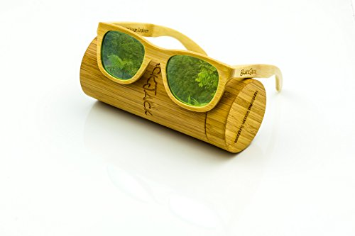 "BlackJack ""Greenpoint"" Wood Wayfarer Sunglasses 55mm with Case"