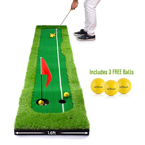 Abco Tech Synthetic Turf Putting Practice Indoor Golf Mat - Life-Like Artificial Green Turf Grass - Includes 3 Bonus Balls - Long-Lasting Design (1.6ft x 10ft)