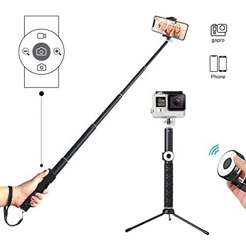 Selfie Stick Tripod with Remote, Hizek Wireless 270° Rotation with Shutter Remote Extendable Monopod Aluminum Alloy for iphoneX/8/7/6 Android Samsung Galaxy S7 S8 Plus Edge by Hizek