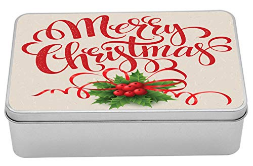 Lunarable Merry Christmas Tin Box, Ribbon and Holly Berry Curly with Merry Christmas, Portable Rectangle Metal Organizer Storage Box with Lid, 7.2