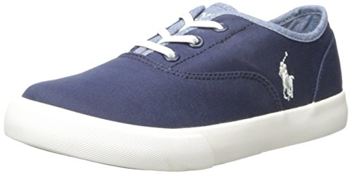 Polo Ralph Lauren Kids Vali Gore N Chino-B Chambray Fashion Sneaker (Toddler/Little Kid), Navy/Blue, 1.5 M US Little Kid