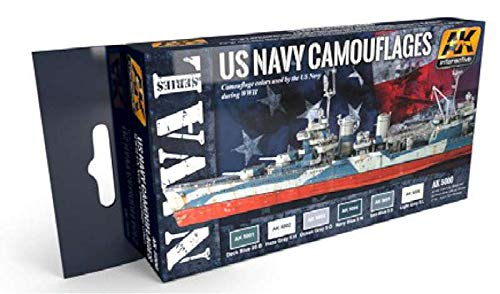 AK Interactive Naval Series: US Navy WWII Camouflages Acrylic Paint Set (6 Colors) 17ml Bottles (Best Navy Paint Colors)