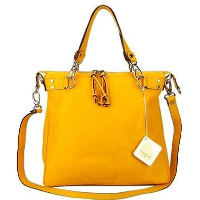 71c509f28566 Amazon.com  CAVALCANTI Italian Made Light Orange Calf Leather Designer Tote  Handbag  Shoes