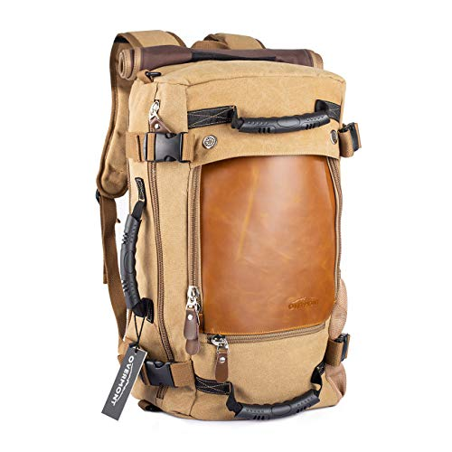 Overmont Vintage Canvas Hiking Backpack Mens Daypack Laptop Backpack Large Capacity Shoulder Bag Suitcase Duffle Bag Rucksack