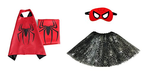 Rush Dance Kids Children's Deluxe Comics Super Hero CAPE & MASK & TUTU Costume (Spiderman (Spiderweb Tutu))
