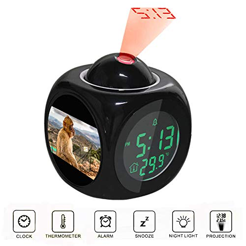 Projection Alarm Clock LCD Digital LED Display Talking with Voice Thermometer Function Desktop Brown Monkey Sitting on Ground