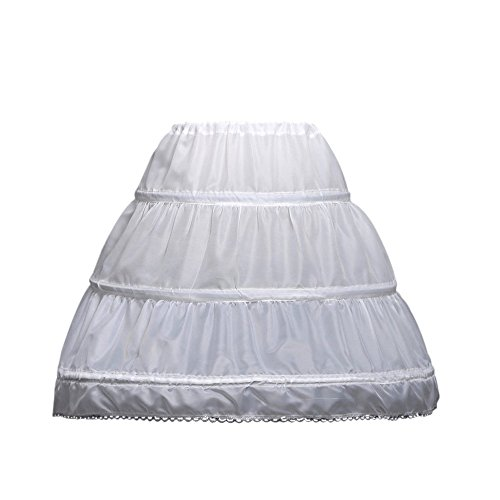 (LULUSILK Kids Crinoline Petticoat with 3 Hoops, Full Length Flower Girl Underskirt Slips, White)