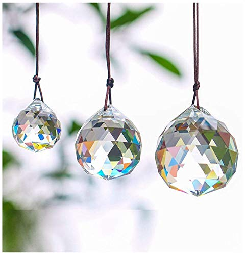 H&D Set of 3 Clear Crystal Ball Includes 20/30/40mm Faceted Prism Balls Suncatcher for Ceiling Lighting Chandelier Hanging Decorating