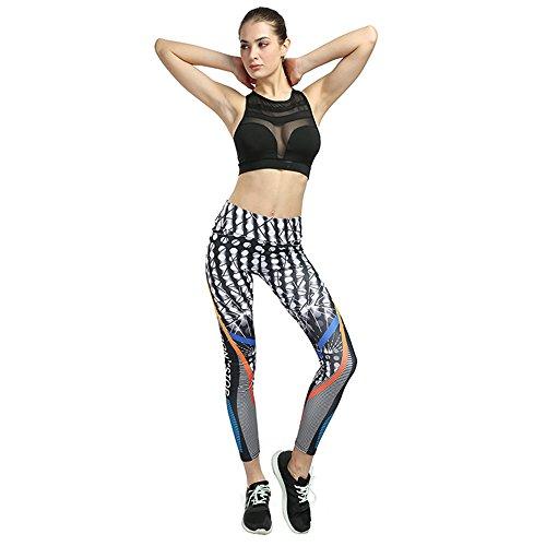 MUMUWU Women Yoga Pants High Waist Sport Workout Running Power Flex Yoga Leggings Printed White Point & Black Stripe XL (Best Quality Workout Clothes)