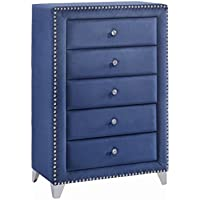 Meridian Furniture Caroline-CH Caroline Velvet Upholstered 5 Drawer Chest with Nailhead Trim, Crystal Handles, and Custom Chrome Legs, Navy