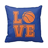 Basketball Throw Pillow & Cover, Boys, Girls, Custom, LOVE, Ball, Black and White or ANY COLORS, 14x14