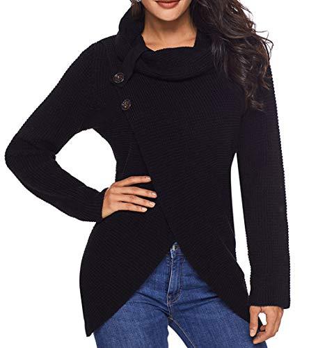 Otoño Jumpers Irregular Botón Pullover De Jerséis Tops Prendas Negro Larga Punto Sweater Mujeres Y Blusa Moda Suéter Primavera Manga Personalidad 5qFwpBS