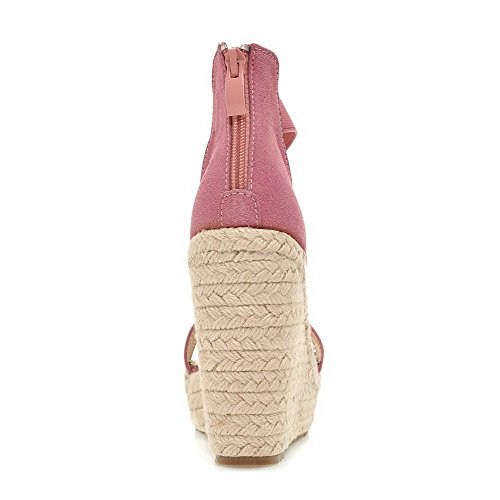 Allhqfashion Mujer's Open Toe Cremallera Imitated Suede Solid Sandalias De Tacón Alto Rosered