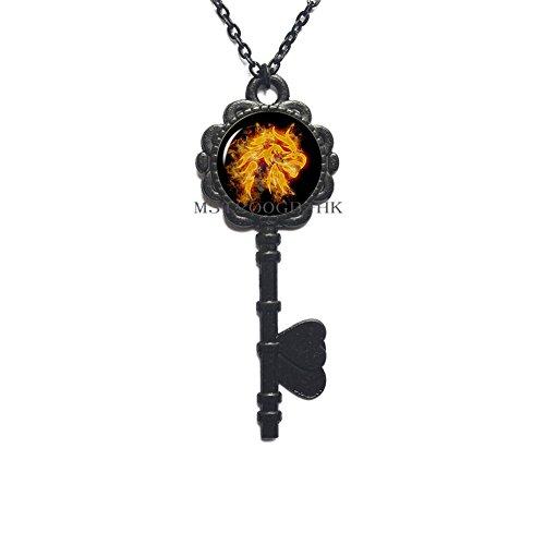 Eagle Glass Cabochon Key Pendant Bird Art Picture Dome Key Necklace Phoenix Jewelry Eagle Key Necklace Eagle Jewellery Bird jewellery-MT180 (W3) ()