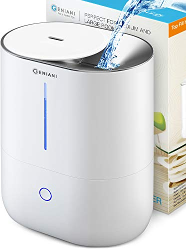Top Fill Cool Mist Humidifiers for Bedroom Essential Oil Diffuser – Smart Aroma Ultrasonic Humidifier for Home, Baby, Large Room with Auto Shut Off, 4L Easy to Clean Water Tank – 2 Year Warranty