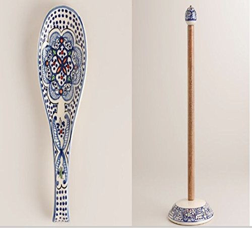 Spoon Holder Spoon Rest and Stand Free Paper Towel Holder Set White and Blue,Ceramic and Wood, Hand crafted and Hand Painted Northern African Design . by wm