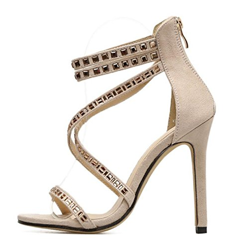 LINYI Zapatos De Mujer Open Toe Rhinestone Stiletto Heels Sandals 2018 Summer New apricot