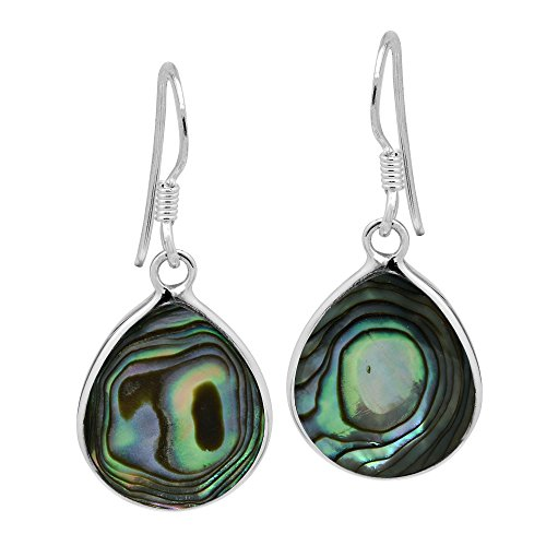 (Chunky Teardrop Abalone Shell Inlay .925 Sterling Silver Dangle Earrings)