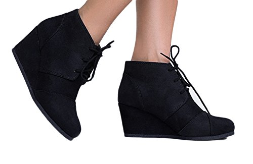 Charles Albert Rex Womens Suede Wedges Lace up Bootie Black (Suede Leather Wedge Boots)