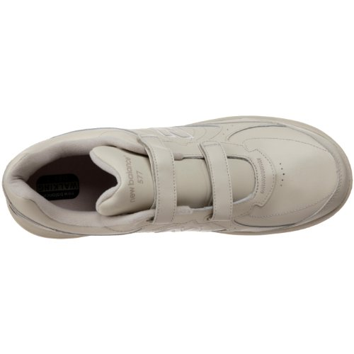 New Balance Uomo MW577 Leather Hook-and-Loop Walking Shoe, Beige (Bone-Hook/Loop), 45