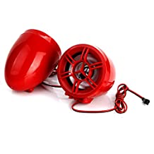 "Rupse Waterproof Motorcycle ATV UTV Bike Handlebar Speakers Audio Sound System Bluetooth MP3 FM Radio with Display Screen 3"" Red Trumpet Horn"