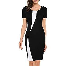 WOOSEA Women's Short Sleeve Colorblock Slim Bodycon Business Pencil Dress (Large, Black)