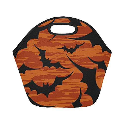 Insulated Neoprene Lunch Bag Halloween Wallpaper Large Size Reusable Thermal Thick Lunch Tote Bags For Lunch Boxes For Outdoors,work, Office, School