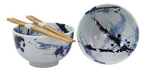 Ebros Gift Made In Japan Blue Splash Paint Abstract Art Design Porcelain Bowls With Bamboo Chopsticks Set Of 2 For Salad Ramen Pho Soup Cereal Home Kitchen Decorative Japanese Artistic Bowl Decorative Japanese Porcelain Bowls