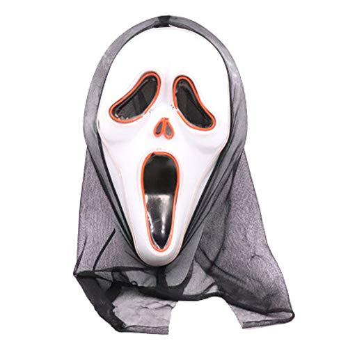 Herocos Horror Skull Scream Cosplay Glowing Latex Mask, Skellington Costume Mask Halloween Costume Props (style2) White]()
