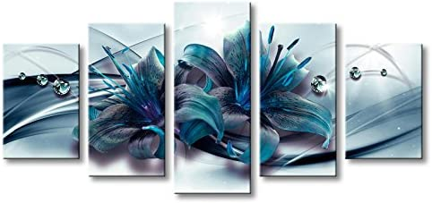Extra Large 5 Panels Turquoise Lily Flower Canvas Wall Art Modern Print Teal Floral Decor Painting