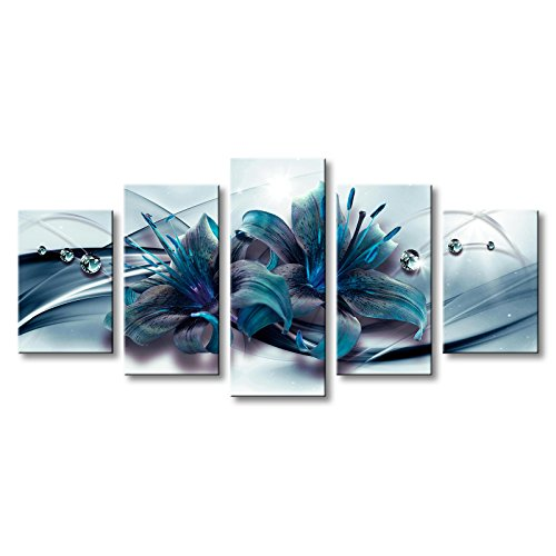 Turquoise Blue Lily Flower Canvas Wall Art Modern Print Teal Floral Painting