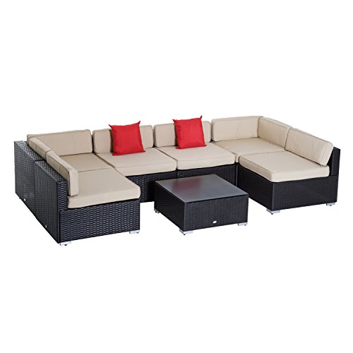 Deep Seating Cushioned Loveseat - Outsunny 7 Piece Outdoor Patio Rattan Wicker Sectional Furniture Set
